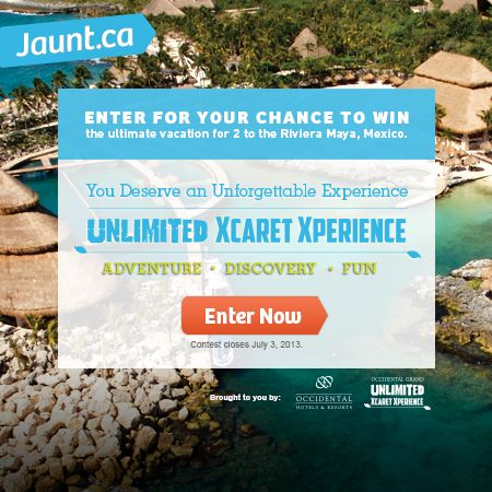 You could #win a FREE trip to the Occidental Grand Xcaret in Riviera Maya, Mexico by entering this Jaunt.ca #sweepstakes! Enter Now
