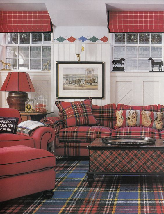 Classic and lovely plaid home decorating trend for 2014 for Tartan living room ideas