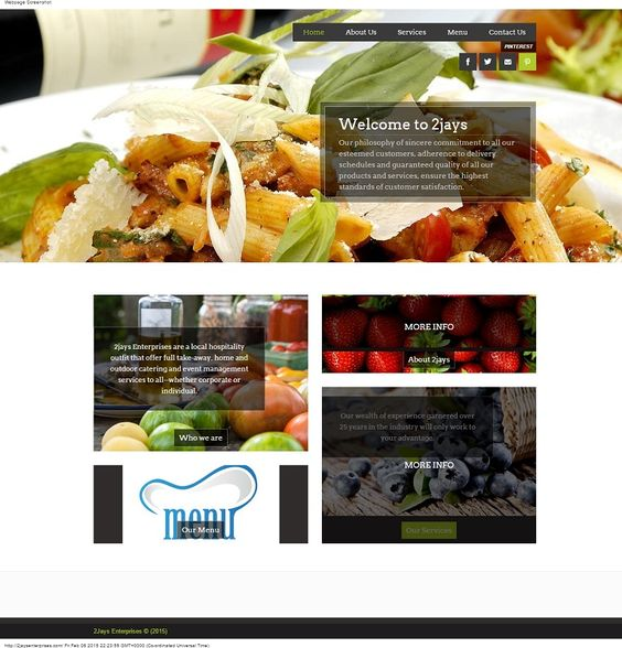 A Website design of 2Jays Enterprises, a catering outfit that provide take-away box-lunches for individuals as well as corporate bodies.  #website #design #Nigeria