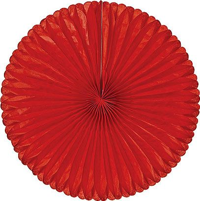 red tissue paper medallions