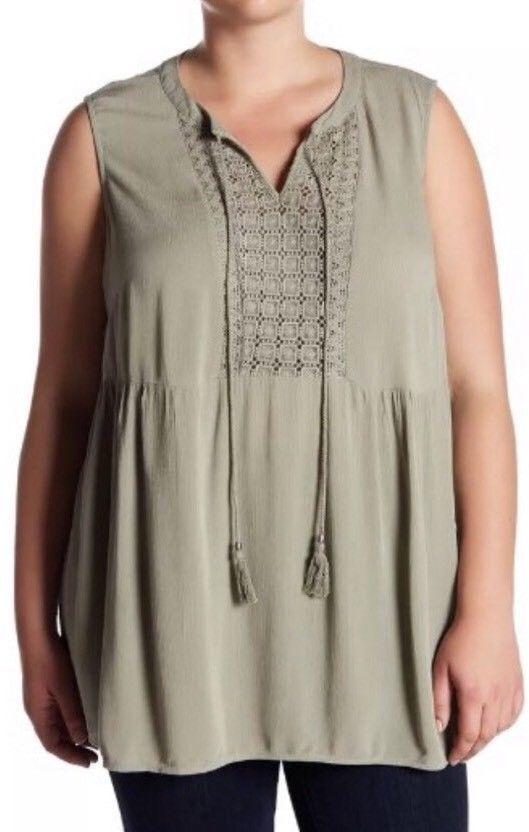 DR2 by Daniel Rainn Sleeveless Front Tassel Knit Blouse Plus
