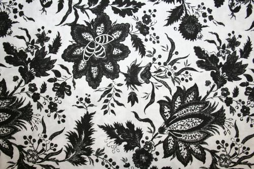 "ELEGANT BLACK ""FANCY FLORAL"" LARGE FLOWERS on WHITE! DAVID TEXTILES | eBay"