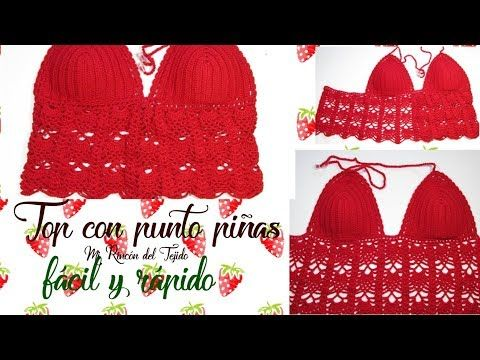 Como Tejer Crop Top Crochet Ganchillo Punto Piñas Diy How To Crochet Crop Top In Pineapple Stitch Vide Croche Paso A Paso Top De Ganchillo Tops De Ganchillo