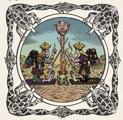Of course, Jim Woodring. But it's not always the detail that I really like. In this picture I particularly like the symmetry, the strong imagery, and the framing with the frogs. I've thought of having you frame my album cover in a similar fashion.
