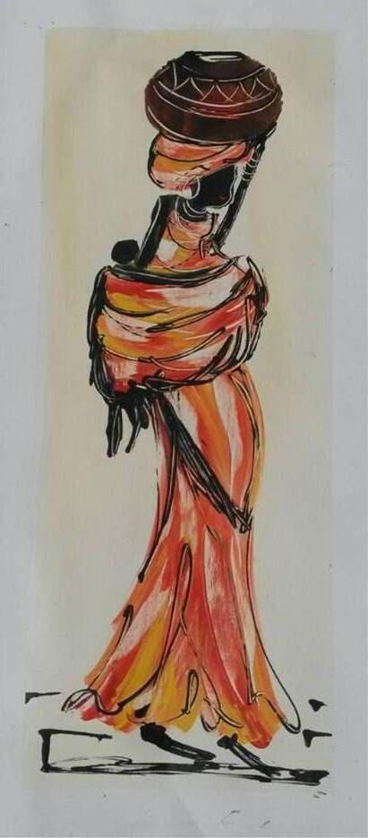 African Woman carrying Water - Original Acrylic Painting on Canvas