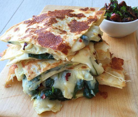 Cheesy Spinach-Artichoke Quesadillas  - Delish.com