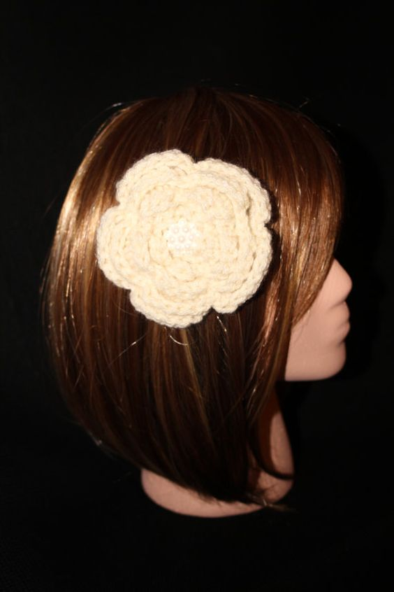 Ivory Flower Hair and Accessory Clip by RedRoseAccessories on Etsy