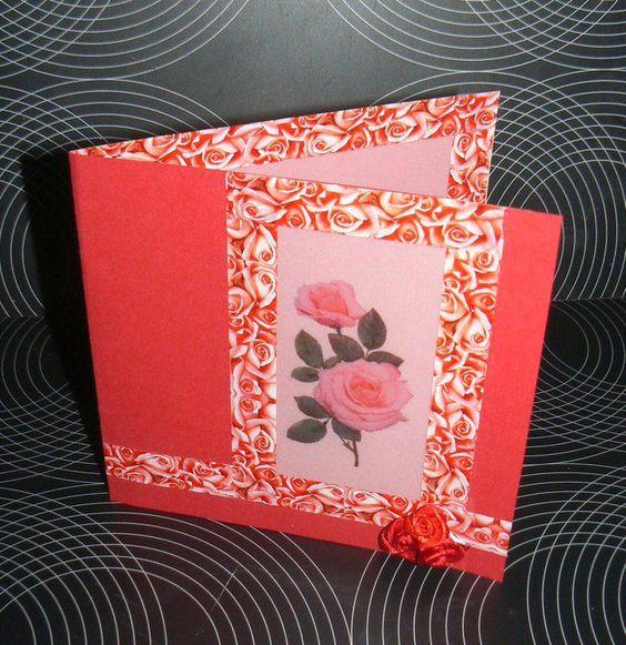 Wenskaart Valentijn  - Roos op kalkpapier gerecycleerd uit trouwkaarten boek