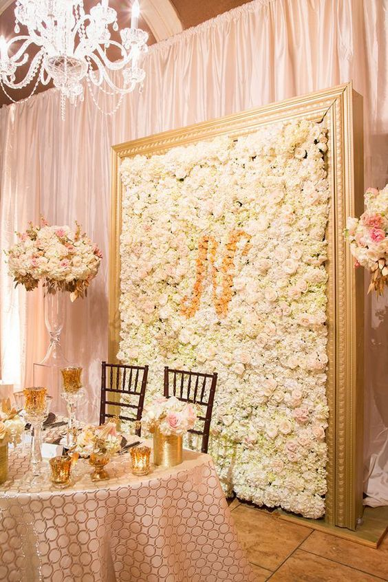 Cream and Blush Chanel Inspired Wedding Sweetheart Table   Tyler Vu Photography   Luxury Linens for any Wedding Budget!
