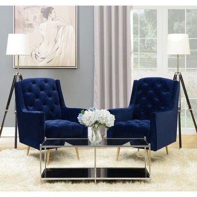Reese Accent Chair With Gold Legs Navy Blue Picket House Furnishings Blue Chairs Living Room Blue Accent Chairs Blue Living Room