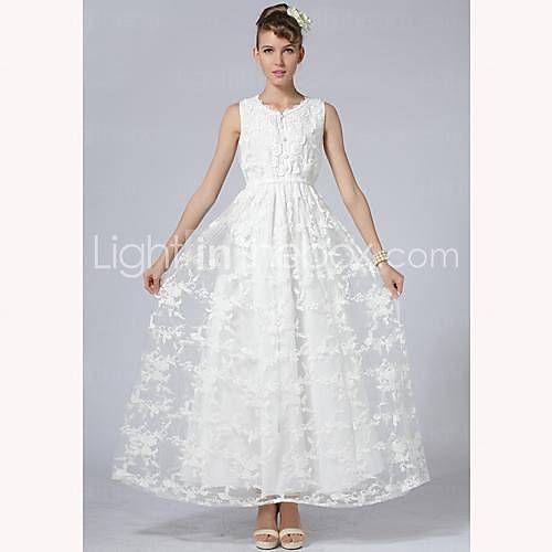TS elegancia del bordado del cordón del ganchillo del vestido maxi - USD $ 35.99