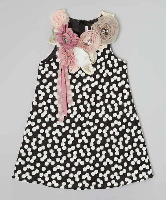 Look at this C'est Chouette Black & White Polka Dot Flower Dress - Infant, Toddler & Girls on #zulily today!
