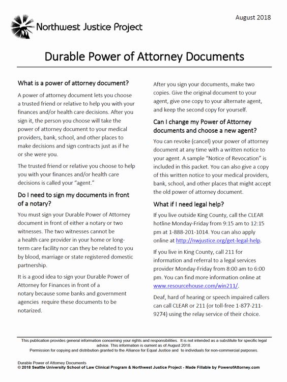 Unlimited Power Of Attorney Form New Free Durable Power Of Attorney Washington Form Adobe Pdf Power Of Attorney Form Power Of Attorney Business Template