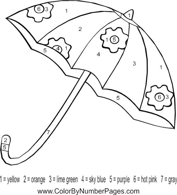 Coloring Pages Kids Umbrellas Numbers Letters Colors