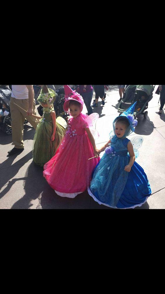"Niece Halloween costume idea ""three fairies from sleeping beauty"""