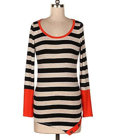 Another great find on #zulily! Black & Orange Stripe Color Block Top #zulilyfinds