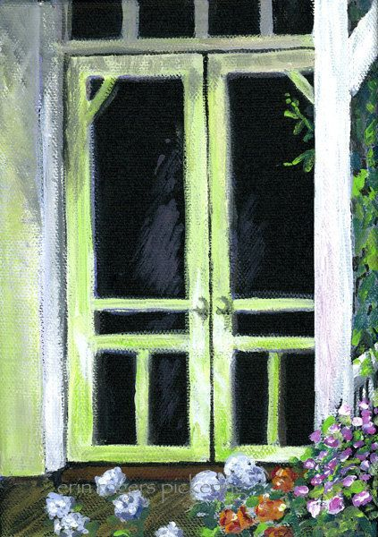 Cottage Painting Grannys Summer Doorway By Eringopaint 2100