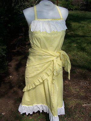 Vtg vintage Yellow Eyelet Lace Pinafore Apron Hippie Wrap Dress Shawl 70s Festival M 2X | eBay