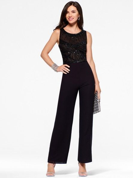 NWT Cache SEXY Black Beaded Chiffon Evening Dress Jumpsuit Formal ...