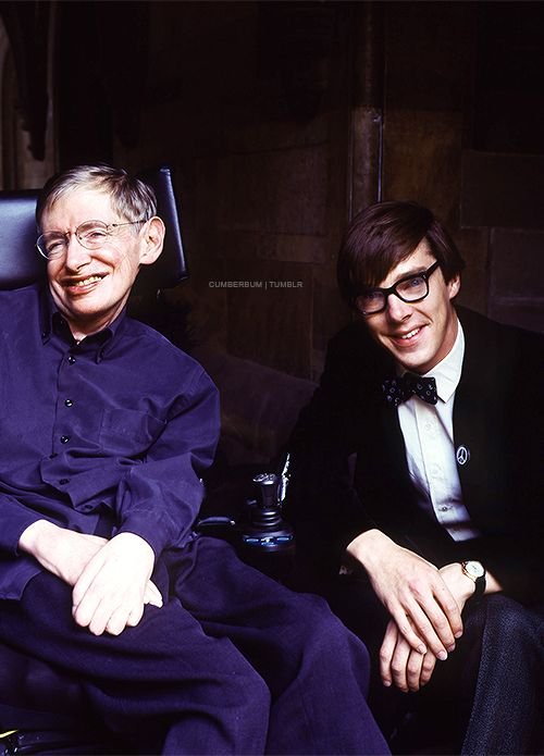 """Benedict Cumberbatch with Stephen Hawking - during the filming of """"Hawking"""""""