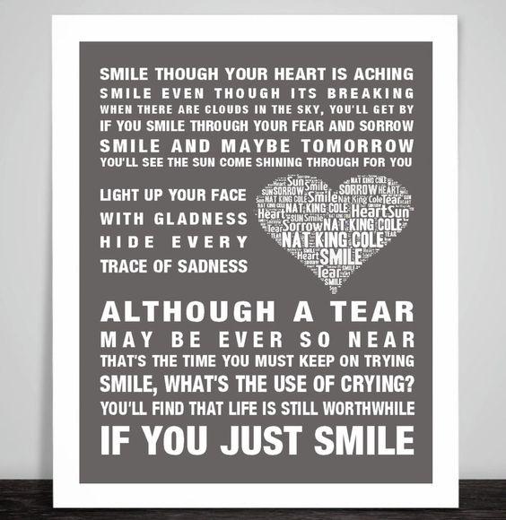 Nat King Cole Smile Music Love Song Lyrics Art Print Poster Heart Design Crying