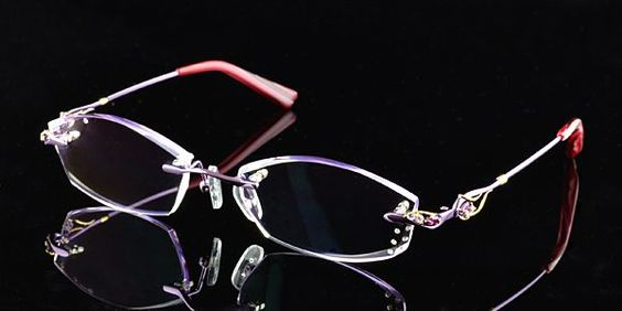 Diamond style rimless eyeglasses.Speical cut lenses shape ...