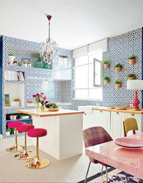 Inside a Groovy Pad Fit for a Queen// pink barstools, tiled kitchen: Interior Design, Pink Barstool, Colorful Kitchens, Eclectic Kitchen, Barstools Tiled, Patterned Wall, Bar Stools, Modern Kitchens, Colorful Barstools