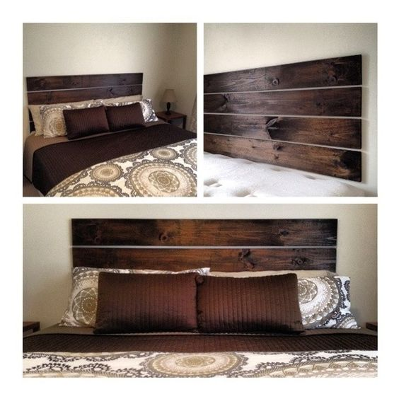 How To Build A Floating Headboard using four 1x6s and hung using heavy duty 3M command strips Great alternative to making holes in the wall!