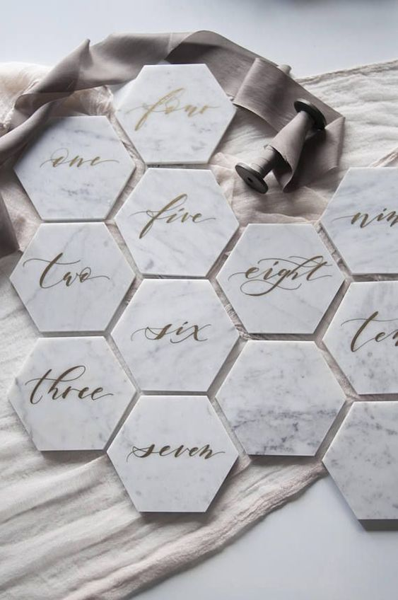 "6"" Hexagon Carrara Marble Table Number"