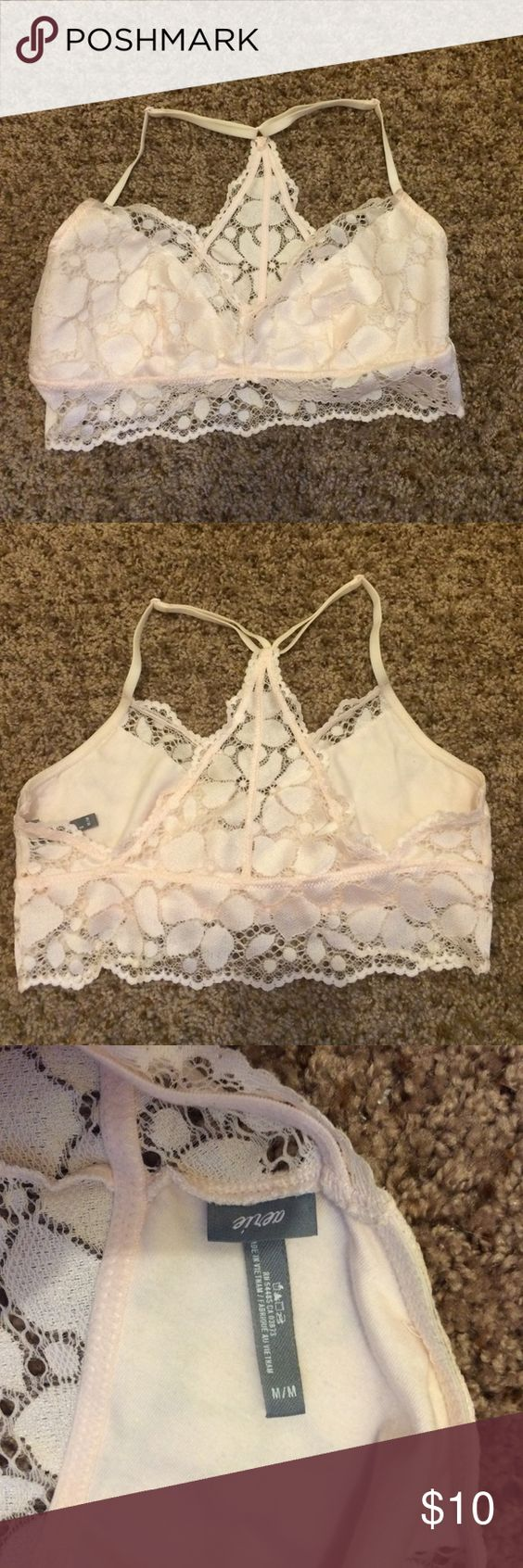 aerie light pink lace bralette Never worn, perfect condition, beautiful light pink color. aerie Intimates & Sleepwear Bandeaus