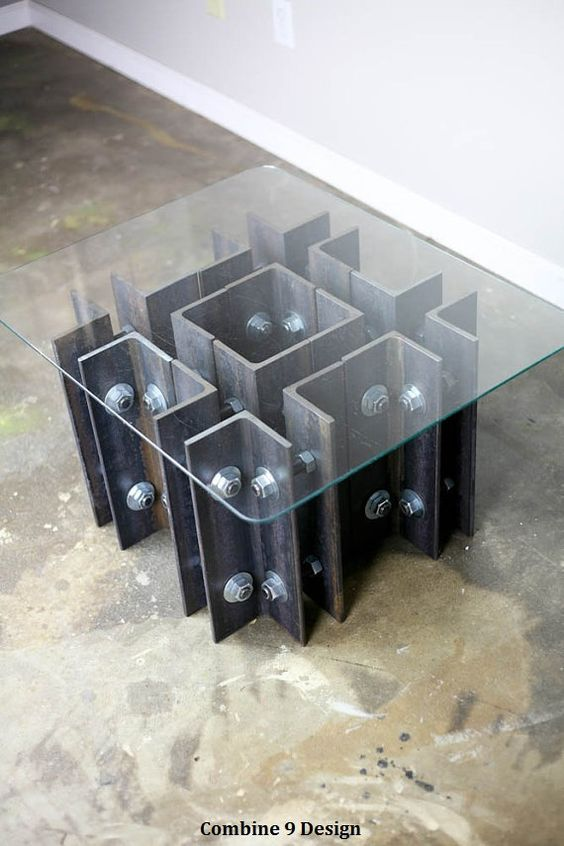 Modern Industrial Coffee/End Table. Unique, One Of A Kind
