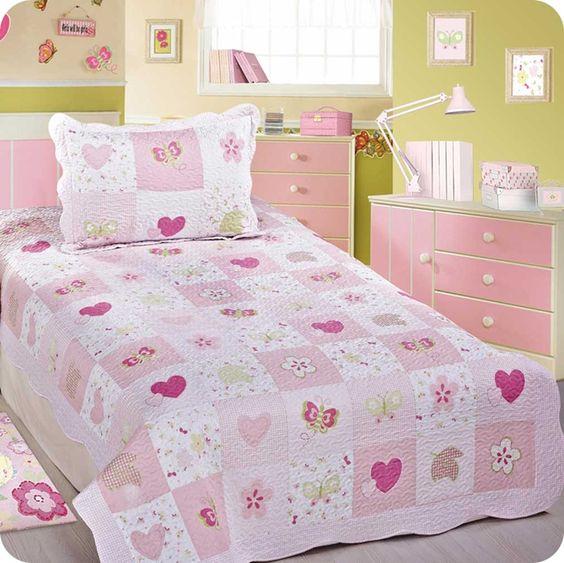 colcha infantil patchwork cora o cubre camas