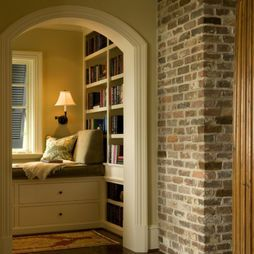 Traditional Family Room Brick Walls