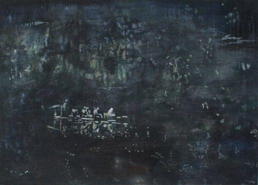 Miriam Vlaming, Überfahrt, 2015, Egg tempera on canvas, 50 x 70 cm, Courtesy Galerie Dukan | Galerie Dukan