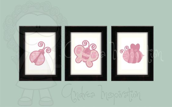 Girl wall decoration, Nursery decoration, Bug Collection, Wall Art, set of 3. $30.00, via Etsy.