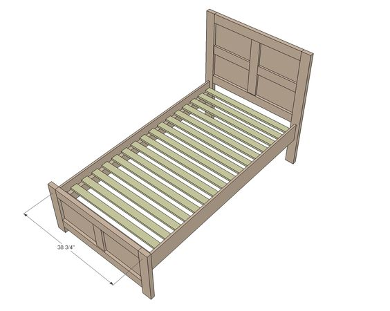 Twin beds twin and twin bed frames on pinterest - Simple twin bed frame plans ...