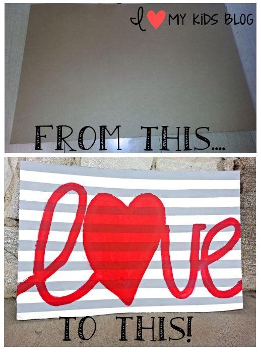 DIY Valentine's day Love sign from cardboard craft