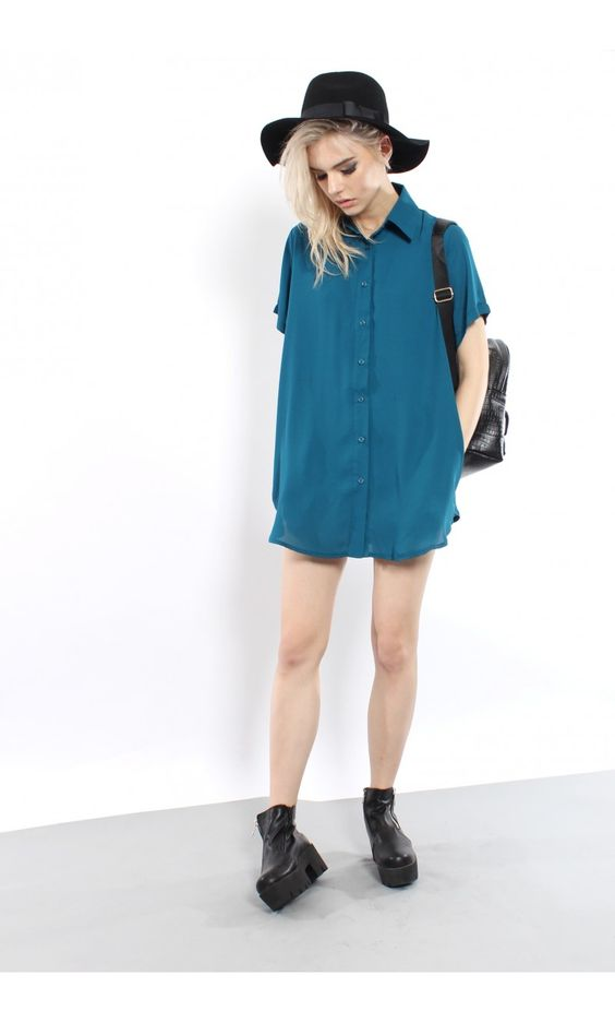 YOUNG HUNGRY FREE: The Shirt Dress in Teal - Young Hungry Free
