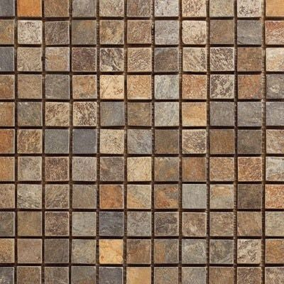 Slate Mosaic Tile 1x1 Mounted On A 12x12 Sheet For Bathrooms Walls Kitchen Backsplash Feature Wall Mosaic Tiles Kitchen Backsplash Designs Glass Mosaic Tiles