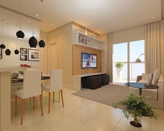 Sala De Tv Pequena Ideias ~ de madeira tv e espelho sala de jantar decoracao sala pequena sala de