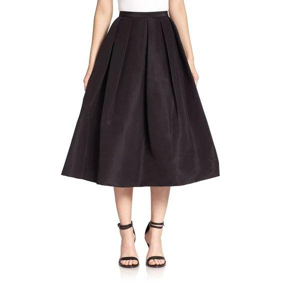 Tibi Silk Faille Pleated A-Line Skirt ($540) ❤ liked on Polyvore ...