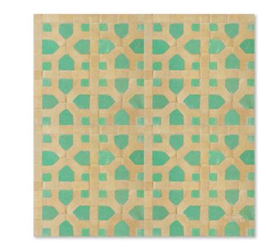 Nejarine Fountain in Fes, this tile is a classic of Moroccan zellij design. Nejarine 12-14 from Mosaic House.