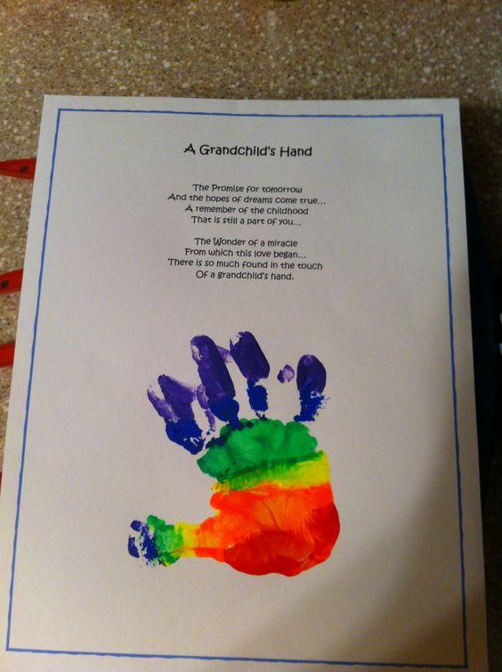 Calendar Ideas For Grandparents : Grandchild s hand poem with handprint grandparents gift