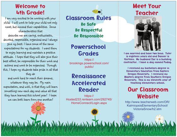 Brochures classroom and the ocean on pinterest for Teacher brochures