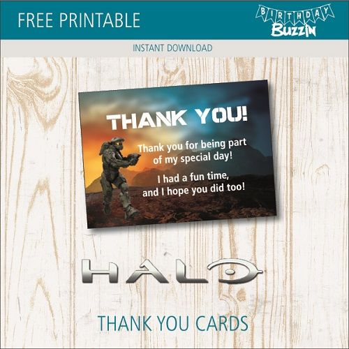 Free Printable Halo Thank You Cards Birthday Buzzin 40th Birthday Quotes Thank You Cards Free Thank You Cards