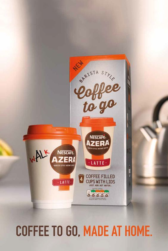 For a delicious and aromatic drink ready to takeaway, simply peel back the foil, pour in hot water, quickly stir (for a Latte) and then attach the non-spill lid. It's as easy as that. With Nescafé Azera Coffee to Go, you can enjoy exceptional coffee on the move.