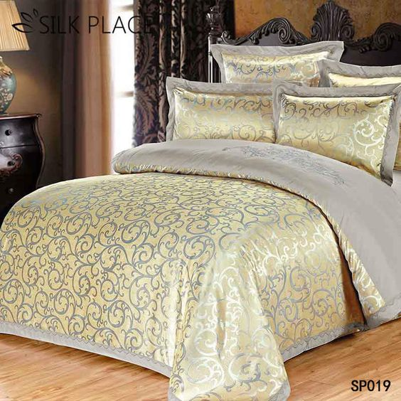 SILK PLACE Satin Luxury Bedding Set New Designer Cotton Bedding Sets Bed Sheet Jacquard Bedding Sets Duvet Cover