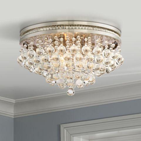 Regina Brushed Nickel 15 1 4 Wide Crystal Ceiling Light 1y132 Lamps Plus 1000 In 2020 Crystal Ceiling Light Ceiling Lights Modern Ceiling Light
