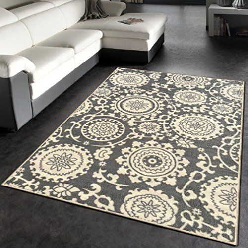 Kapaqua Rubber Backed 3 4 X 5 Floral Swirl Medallion Grey And