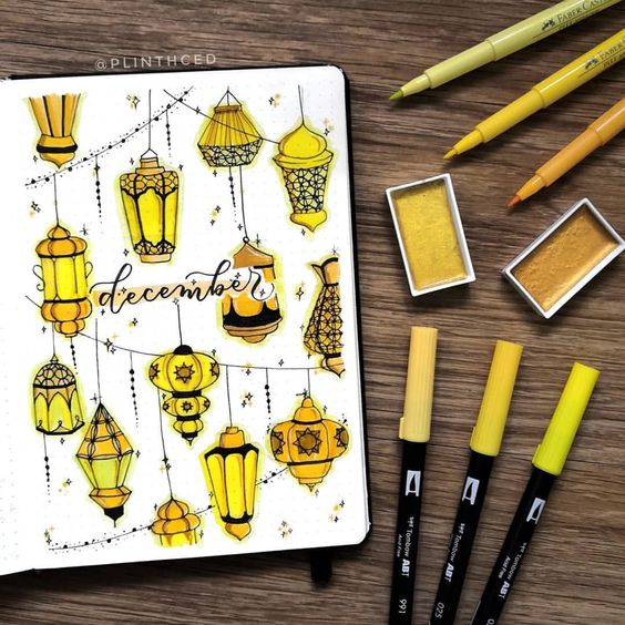 30 idées pour votre page de décembre dans votre Bullet Journal - @plinthced on instagram